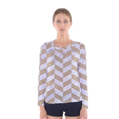 Chevron1 White Marble & Sand Women s Long Sleeve Tee