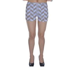 Chevron1 White Marble & Sand Skinny Shorts