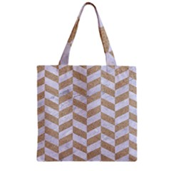 CHEVRON1 WHITE MARBLE & SAND Zipper Grocery Tote Bag