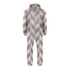 CHEVRON1 WHITE MARBLE & SAND Hooded Jumpsuit (Kids)