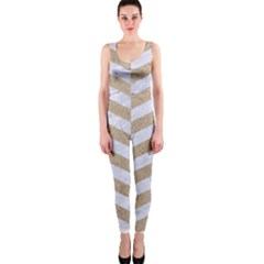 CHEVRON1 WHITE MARBLE & SAND One Piece Catsuit