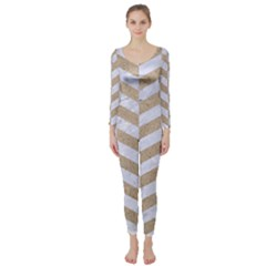 CHEVRON1 WHITE MARBLE & SAND Long Sleeve Catsuit