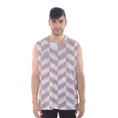 Chevron1 White Marble & Sand Men s Basketball Tank Top