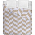 CHEVRON1 WHITE MARBLE & SAND Duvet Cover Double Side (California King Size) View1