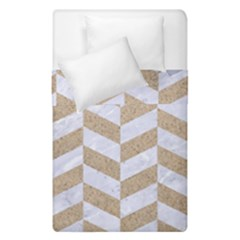 CHEVRON1 WHITE MARBLE & SAND Duvet Cover Double Side (Single Size)
