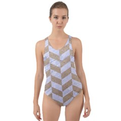 CHEVRON1 WHITE MARBLE & SAND Cut-Out Back One Piece Swimsuit