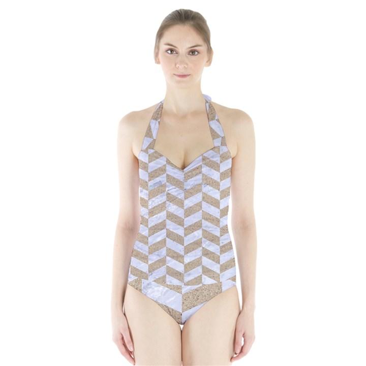 CHEVRON1 WHITE MARBLE & SAND Halter Swimsuit