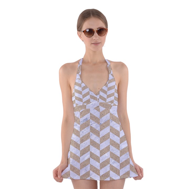 CHEVRON1 WHITE MARBLE & SAND Halter Dress Swimsuit