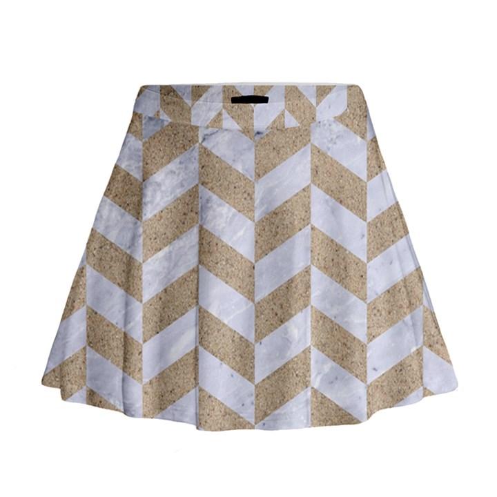 CHEVRON1 WHITE MARBLE & SAND Mini Flare Skirt
