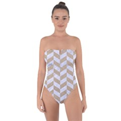 CHEVRON1 WHITE MARBLE & SAND Tie Back One Piece Swimsuit