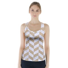 CHEVRON1 WHITE MARBLE & SAND Racer Back Sports Top