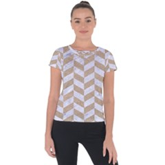 CHEVRON1 WHITE MARBLE & SAND Short Sleeve Sports Top