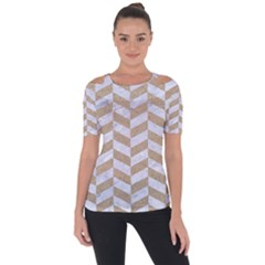 CHEVRON1 WHITE MARBLE & SAND Short Sleeve Top