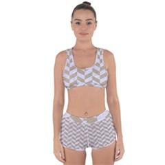 Chevron1 White Marble & Sand Racerback Boyleg Bikini Set