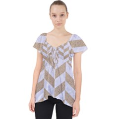 Chevron1 White Marble & Sand Lace Front Dolly Top