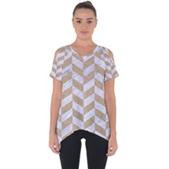 CHEVRON1 WHITE MARBLE & SAND Cut Out Side Drop Tee