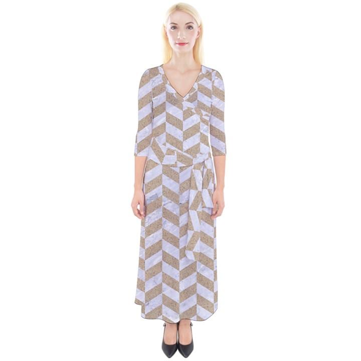 CHEVRON1 WHITE MARBLE & SAND Quarter Sleeve Wrap Maxi Dress