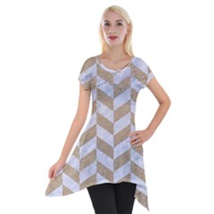 CHEVRON1 WHITE MARBLE & SAND Short Sleeve Side Drop Tunic
