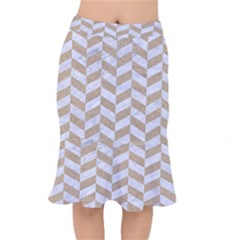 Chevron1 White Marble & Sand Mermaid Skirt