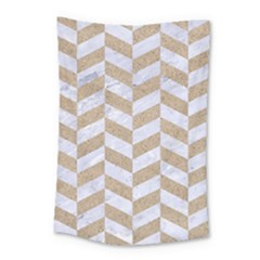 CHEVRON1 WHITE MARBLE & SAND Small Tapestry