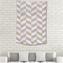 CHEVRON1 WHITE MARBLE & SAND Small Tapestry View2