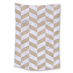 CHEVRON1 WHITE MARBLE & SAND Large Tapestry