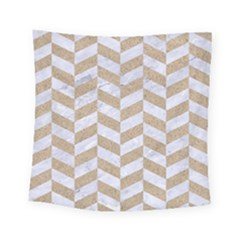 CHEVRON1 WHITE MARBLE & SAND Square Tapestry (Small)