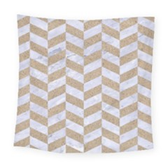 CHEVRON1 WHITE MARBLE & SAND Square Tapestry (Large)