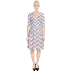 CHEVRON1 WHITE MARBLE & SAND Wrap Up Cocktail Dress