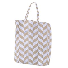 CHEVRON1 WHITE MARBLE & SAND Giant Grocery Zipper Tote