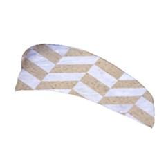 Chevron1 White Marble & Sand Stretchable Headband