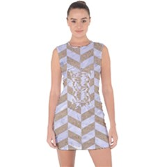 CHEVRON1 WHITE MARBLE & SAND Lace Up Front Bodycon Dress