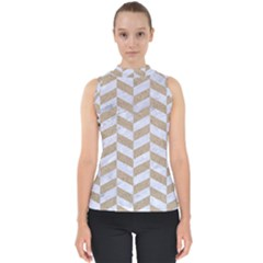 CHEVRON1 WHITE MARBLE & SAND Shell Top