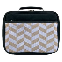 CHEVRON1 WHITE MARBLE & SAND Lunch Bag