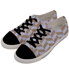 CHEVRON1 WHITE MARBLE & SAND Men s Low Top Canvas Sneakers