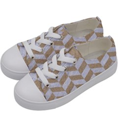 CHEVRON1 WHITE MARBLE & SAND Kids  Low Top Canvas Sneakers