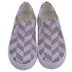 Chevron1 White Marble & Sand Kids  Canvas Slip Ons