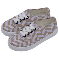 CHEVRON1 WHITE MARBLE & SAND Kids  Classic Low Top Sneakers