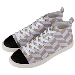CHEVRON1 WHITE MARBLE & SAND Men s Mid-Top Canvas Sneakers