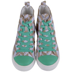 Chevron1 White Marble & Sand Women s Mid Top Canvas Sneakers