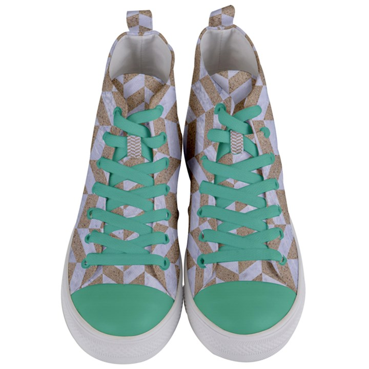 CHEVRON1 WHITE MARBLE & SAND Women s Mid-Top Canvas Sneakers