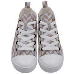 Chevron1 White Marble & Sand Kid s Mid Top Canvas Sneakers