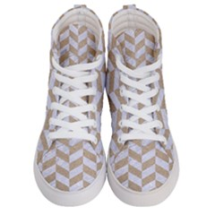 Chevron1 White Marble & Sand Women s Hi Top Skate Sneakers