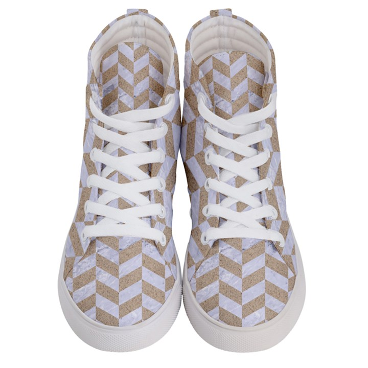 CHEVRON1 WHITE MARBLE & SAND Women s Hi-Top Skate Sneakers