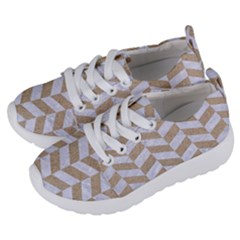 Chevron1 White Marble & Sand Kids  Lightweight Sports Shoes by trendistuff