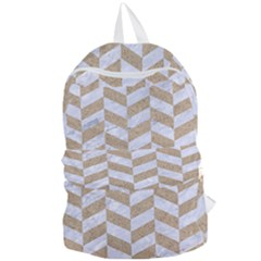 CHEVRON1 WHITE MARBLE & SAND Foldable Lightweight Backpack