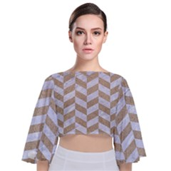 CHEVRON1 WHITE MARBLE & SAND Tie Back Butterfly Sleeve Chiffon Top