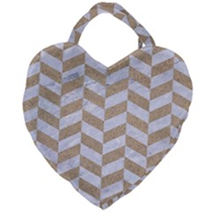 CHEVRON1 WHITE MARBLE & SAND Giant Heart Shaped Tote