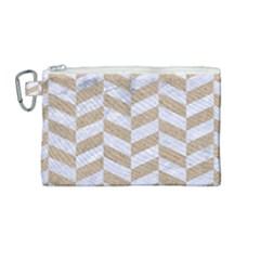 Chevron1 White Marble & Sand Canvas Cosmetic Bag (medium)