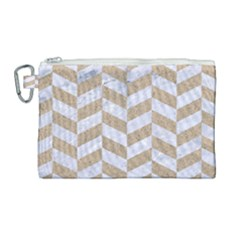 CHEVRON1 WHITE MARBLE & SAND Canvas Cosmetic Bag (Large)
